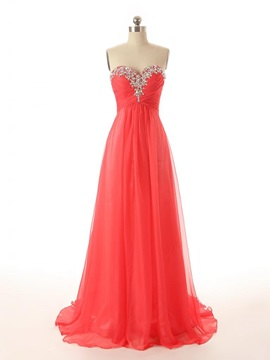 A Line Sweetheart Crystal Beading Sequins Sweep Train Long Prom Dress