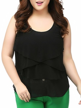 Solid Color Tiered Ruched Plus Size Blouse