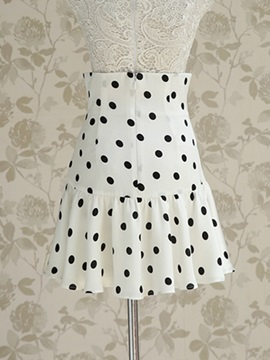 Chiffon High Waist Polka Dots Decorated Pleated Skirt