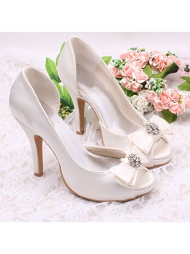 Elegant Beaded Bowknot High Heel Wedding Shoes