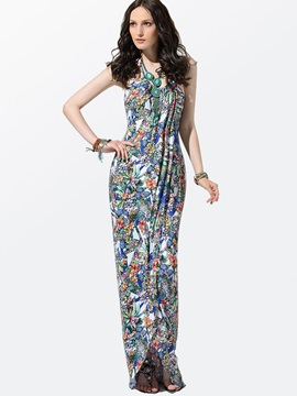 Clocolor® Floral Print Split Front Spaghetti Strap Bohemia Dress