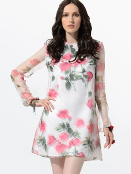Clocolor® Floral Print Sheer Sleeve Bohemia Dress