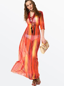 Clocolor® Bohemian Vertical Stripe Maxi Dress