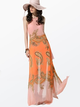 Clocolor® Split Spaghetti Strap Chiffon Maxi Dress