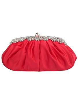 Satin Bead Decorated Pleated Womens Clutch