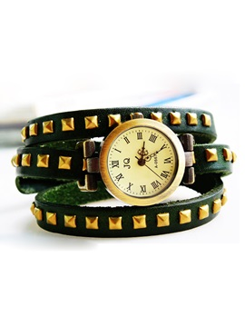 Vintage Multi Layer Rivets Decorated Watch