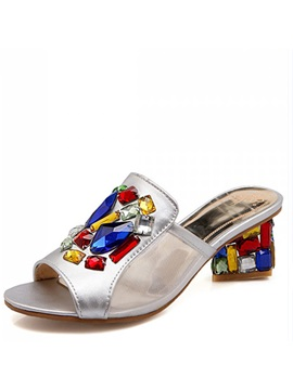 Colorful Rhinestone Heel Sandals