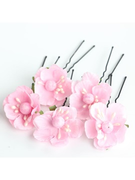 Red And Pink Cloth Flower Wedding Hair Pins 5 Pcs One Set