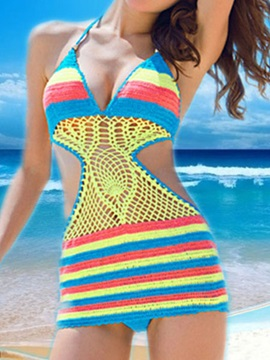 Crochet Backless Stripe One Piece Swimsuit