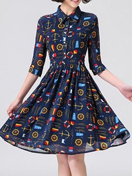 Turndown Printed Day Dress