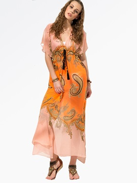 Clocolor® Chiffon Puff Sleeves Maxi Dress