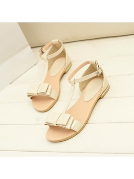 Cute Candy Color Bowknot Flat Sandals