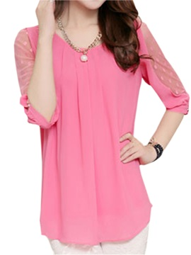 Lace Hollow Out Solid Color Blouse