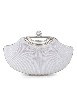 Plain Velour Pleated Shell Womens Clutch