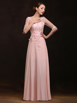 Fancy Scoop Neck Appliques Pearls Half Sleeves A Line Long Prom Dress