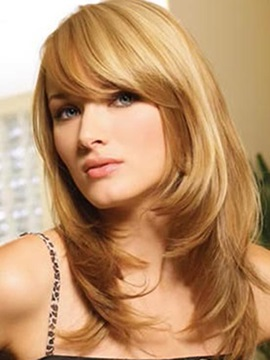 Top Quality Long Layered Straight Capless Human Hair Wig 18 Inches