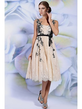 Stunning Straps A Line Appliques Lace Tea Length Evening Dress
