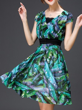 European Tie Dyed Zipper Day Dress