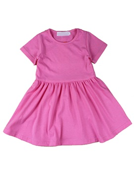 Sweet Pink Round Neck Short Sleeve Girls Dress