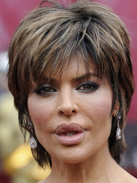 Hot Sale Short Layered Straight Lisa Rinna Hairstyle Capless Human Hair Wig 8 Inches