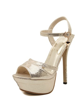 Cracking Metallic Straps Platform Sandals