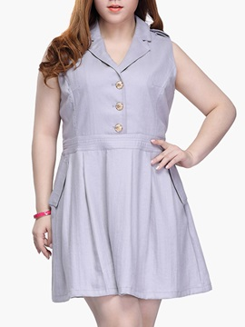 Polyester Turn Down Collar Plus Size Dress