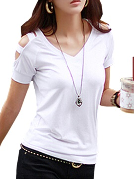 Plain Straps Shoulder T Shirt