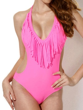 Stylish Nylon Tassel Decorated Halterneck One Piece Swimsuit