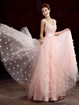 Pretty A Line V Neck Appliques Sequined Flowers Up Long Prom Dress