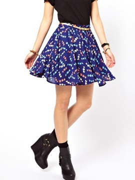 Chiffon Printing Belt Tied Womens Skirt