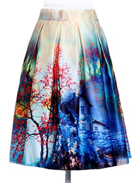 New Polyester Printing High Waist Skirt