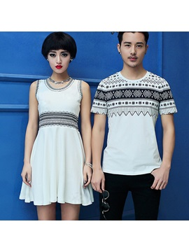 Native Print Crew Neck Couple T Shirts Price For Pair