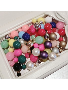 Candy Color Round Womens Earrings