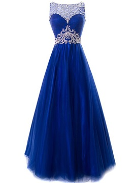 Chic Bateau Neck Beaded Crystal Backless Lace Up Long Evening Dress