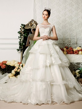 Floor Length A Line Bateau Neck Tiered Ruffles Organza Open Back Wedding Dress