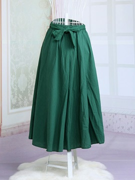 Solid Color Cotton Expansion Lace Up Skirt