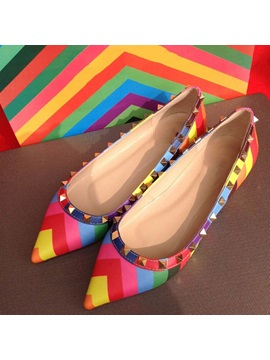 New Collection Colorful Strips Rivets Boat Shoes