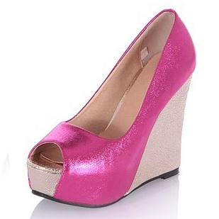 Metallic Color Contrast Color Wedge Peep Toe Pumps