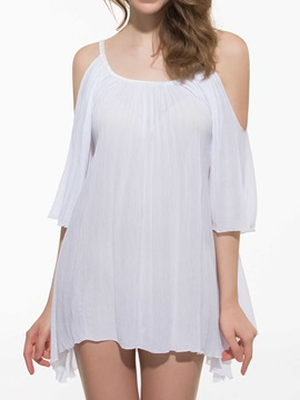 Solid Color Flare Sleeve Off Shoulder Beach Dress