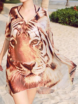 Stylish Chiffon Tiger Printing See Through Beach Dress Cover Up