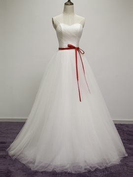 Floor Length Strapless Sweetheart A Line Wedding Dress With Satin Sash