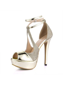 Gold Peep Toe Ankle Straps Dress Sandals
