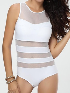 Simple Solid Color Hollow Designed One Piece Swimsuit
