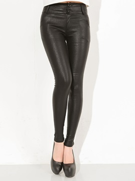 Glossy Plain Elastic Pencil Leggings