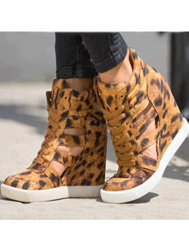 Leopard Printing Lace Up Wedge Sneakers