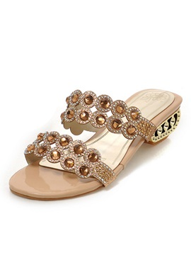 Rhinestone Decorated Strap Hollow Out Heel Sandals