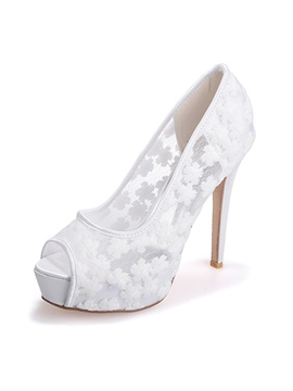 Sweet Embroidered Peep Toe Lace Wedding Shoes