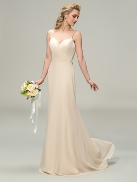Spaghetti Straps Sheath Champagne Chiffon Long Bridesmaid Dress