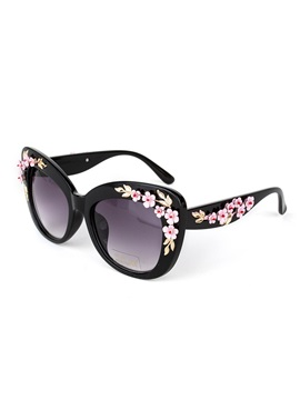 Flower Decorated Womens Sunglasses