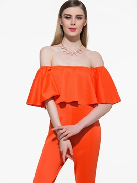Stylish Solid Color Bandeau Flouncing Jumpsuit